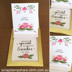September's National Stamping Month From the Heart Card Kit is full of fabulous sentiments, gorgeous layered flowers to stamp and gold foil-trimmed interactive cards. What's not to love? Get your hands on this card kit this month and only while supplies last! #ctmh #ctmhfromtheheart #happystamping #cardmaking #flowers #scrapstampshare #thecraftyshed