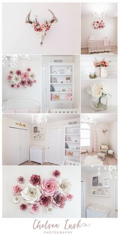 floral baby girl nursery, shiplap bookshelf, paper flowers, european mount, deer, chandelier, arrow, blush, gold, pink trendy family must haves for the entire family ready to ship! Free shipping over $50. Top brands and stylish products