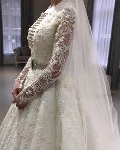 Leila Khashagulgova Stunning Wedding Gown Uniq Embellished A-Lane Princess Wedding Dress / Bridal Ball Gown with Long Embellished Sleeves and a Train by Leila Kha. Bride Reception Dresses, Hijab Wedding Dresses, Boho Wedding Dress, Bridal Dresses, Muslim Wedding Gown, Wedding Gowns, Wedding Cakes, Leila, Amazing Wedding Dress