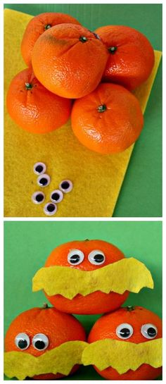 Lorax craft made with a mandarin!