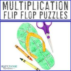 MULTIPLICATION Flip Flop Puzzles | Add to a Printable Summer Math Packet | 3rd, 4th, 5th grade, Activities, End of Year, Games, Homeschool, Math, Math Centers, Summer Fun Math Activities, Back To School Activities, 4th Grade Classroom, Special Education Classroom, Practice Math Problems, Math Facts, Summer School, Multiplication, Math Centers