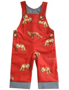 Mr Fox Overalls from Cocktail Kids in an on trend orangey red. Your little one will stay warm and look stylish all at once! Part of the Babies and Kids Treasure Chest at Little Scamp Prints at http://on.fb.me/1k4Gi0V