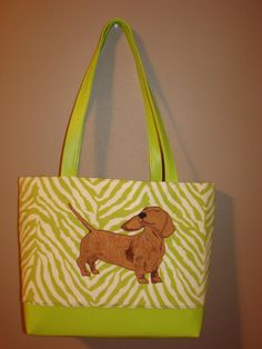 Smooth Dachshund Appliqued Tote Bag with zip by StitchedByShawn