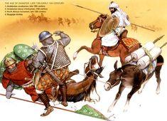 Infantería y caballería pesada del Reino Nazarí de Granada en el siglo XIII, junto a un jinete benimerín armado a la ligera y con adarga.