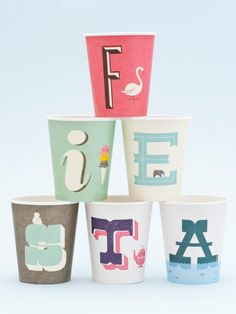 Set of 26 A-Z paper cups, one each of each letter. 9 oz capacity. Perfect for a naming ceremony party!