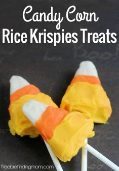 Candy Corn Rice Krispies Treats - Need a simple to make and super sweet treat that is perfect for office or school carry-ins, fall parties, football tailgating, or just to enjoy at home? Give this chocolaty remix of the traditional Rice Krispies treats a try.