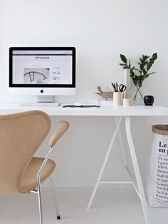 Scandinavian Home Office, Interior Design, Home Office Design, Minimalist Office #homedecor, #interiordesign, #minimalistdecor