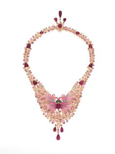 Wendy Yue Madame Butterfly necklace with brown diamonds, opals, rhodolite garnets, green garnets, pink sapphires, diamonds and purple sapphires.