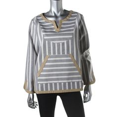 Kule Womens Twill Striped Casual Top
