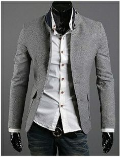 Charming Column Stand Collar Color Matching Long Sleeves Cotton Blend Casual Blazer For Men Mens Casual Blazer Jacket, Blazers For Men Casual, Casual Suit, Stylish Blazers, Sharp Dressed Man, Well Dressed Men, Korea Fashion, Men's Fashion, Fashion Photo