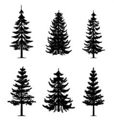 Vector image of Tree silhouettes vector, includes leaves, ecology, symbol, silhouette & garden. Illustrator (.ai), EPS, PDF and JPG image formats.