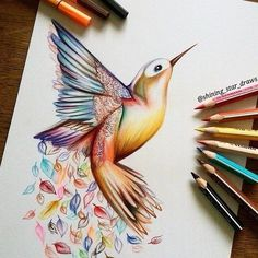 tattoo designs 2019 Awesome Hummingbird Tattoo Design tattoo designs 2019 Fantastic realistic colorful drawing of the hummingbird. Pencil Art Drawings, Art Drawings Sketches, Bird Drawings, Animal Drawings, Drawing Animals, Pretty Drawings, Colorful Drawings, Cool Drawings, Hummingbird Drawing