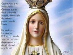 Consagraos a mi Inmaculado Corazón que os daré cobijo de Madre, ternura de doncella y protección de Reina.Repetid con frecuencia: Dulce corazón de Jesús sed mi amor, dulce corazón de María sed mi salvación.♥