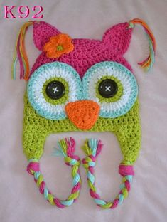 Free shipping Cute Baby crochet hat Children 100% cotton handmade hat Beanie with Earflaps knitting Owl Hat 200pcs