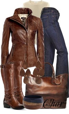 """leather jacket and jeans 2"" by thefarm ❤ liked on Polyvore"