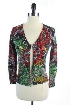 ONLY $24.95 -- SUPER BARGAIN SALE!! ALBERTO MAKALI Multii-Color SEQUINED Floral CARDIGAN Shirt TOP S
