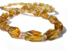 Very Long Amber Glass Necklace with Big Faceted by RibbonsEdge, $39.99