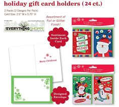 Christmas Gift Card Holders with Embellished Glitter and Foil Finish for Gift Cards Snowman, Santa, Snowflakes -- Check out the image by visiting the link.