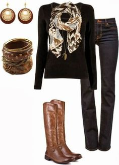 Adorable Scarf, Black Sweater, Jeans and Long Brown Boots for Fall