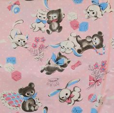 Vintage Vogue Dennison BABY Gift Wrap - Wrapping Paper - Adorable ANIMALS - 1950s