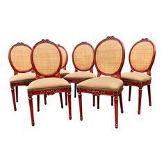 79a550affd0 French Country Style Red Lacquer Gilt Dining Chairs - Set of 6