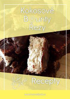Kokosové Bounty Řezy je recept na zdravé mlsání. Vyzkoušej tento úžasný recept a dej mi vědět jak se ti povedl. Hana Štipák School Snacks, Food And Drink, Drinks, Desserts, Drinking, Tailgate Desserts, Beverages, Deserts, Drink