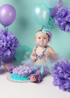 Lavender and Aqua Mermaid Tutu Set-Mermaid Theme, Beach Theme, 1st Birthday, Smash Cake, Gumball Necklace, Headband, Little Mermaid, Lace