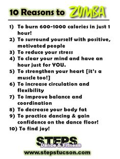 10 Reasons to Zumba! Steps Dance & Fitness Studio Tucson, AZ