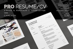 Pro Resume/CV - Cameron by bilmaw creative on For those looking for a professional presentation, 'Cameron' offers a two page design for those who need a little more space, plus a cover letter (including sample letter) and an optional portfolio template. Cv Cover Letter, Cover Letter Template, Cv Template, Letter Templates, Cover Letters, Resume Cv, Resume Design, Resume Advice, Resume Help