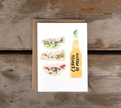 Mexican Lager and Tacos A6 Card with Kraft Envelope