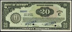 Detroit depression currency, 1934. PureDetroit.com