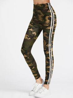 Online shopping for Camo Print Striped Side Leggings from a great selection of women's fashion clothing & more at MakeMeChic. Leggings Mode, White Leggings, Tops For Leggings, Striped Leggings, Leggings Are Not Pants, Printed Leggings, Stripe Pants, White Pants, Cheap Leggings