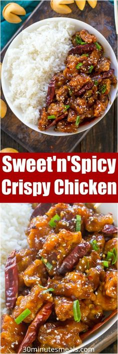 Sweet and Spicy Chicken is perfectly crispy and coated in the most delicious, sweet, sticky and spicy sauce. Make it in one pan in 30 minutes only! #chicken #dinner #asian