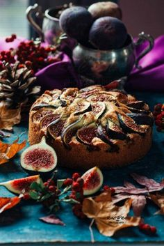 Figs and almond cake recipe Figs and almond cake - a rich dense yet airy cake made with plump figs. It is a perfect balance of subtle sweet and spicy from cinnamon. Fig Recipes, Cake Recipes, Cooking Recipes, Recipes With Figs, Fig Cake, Microwave Cake, Eggless Baking, Walnut Cake, Almond Cakes