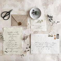 Organic walnut ink and handmade paper suite on a stunning surface created by Handmade Wedding Invitations, Wedding Invitation Wording, Wedding Stationary, Invitation Design, Invitation Cards, Invites, Handwritten Wedding Invitations, Invitation Ideas, Stationery Design