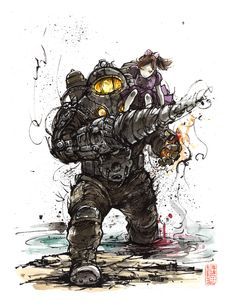 Bioshock 2 Subject Delta Sumi by MyCKs on DeviantArt Bioshock Tattoo, Bioshock Rapture, Bioshock Game, Bioshock Series, Bioshock Infinite, Video Game Logic, Video Game Art, Video Games, Dead Space