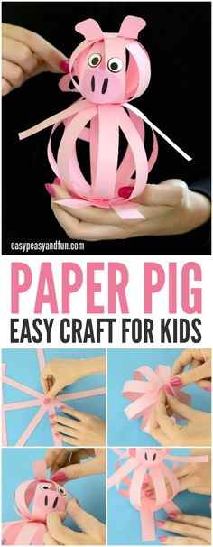 This cute paper pig is an easy craft for kids to make this spring! Great for a farm unit!