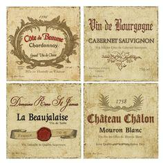 4 Piece Wine Labels Coaster Set