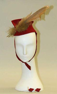 Hat   American   The Met 1930s Medium: wool Dimensions: Length (f to b): 7 1/2 in. (19.1 cm)