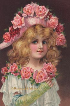 Girl with Pink Roses New 4x6 Vintage Image Photo Print IL081 | eBay
