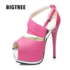 2017 Brand women sandals Sexy peep toe Strap buckle platform wedge high  heels Summer club Party shoes Woman Gladiator sandals ec0e9741d916