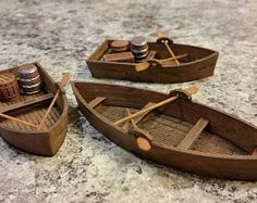 This listing is for a bundle of 3 row boats scaled for tabletop wargaming. Dungeons E Dragons, Diy Popsicle Stick Crafts, Tiny Furniture, Wargaming Terrain, Miniature Crafts, Mini Things, Cardboard Crafts, Tabletop Games, Miniture Things