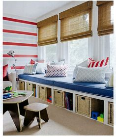 I want to create a sitting and kid area like this in our AZ room with bench seating and a little table for the kids, plus I like the colors