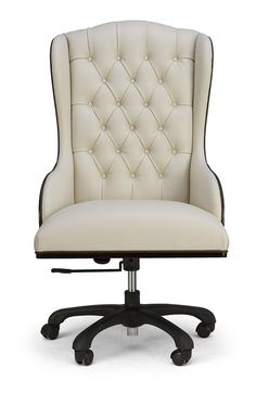This gorgeous high backed wing chair will have you doing your homework in style. I know I just adore the classic tufting and neutral colour. - Office Chair - Ideas of Office chair Wooden Office Chair, Desk Chair, Office Furniture, Home Furniture, Furniture Design, Office Chairs, Corner Furniture, Furniture Ideas, Modern Furniture