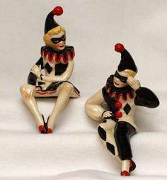RARe Ceramic Arts Studio Pierrot Clown Shelf Sitter Figurines: