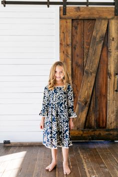 Navy blue and ivory floral dress with cream lace and little details. This cute dress is perfect for any special occasion, school, or family pictures. Girls Navy Dress, Girls Dresses, Flower Dresses, Cute Dresses, Family Picture Outfits, Baby Size, Your Girl, Family Pictures, Special Occasion