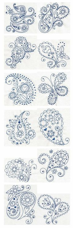Paisley Blues Redwork machine embroidery designs by Designs by JuJu: Embroidery Stitches, Embroidery Patterns, Hand Embroidery, Machine Embroidery, Paisley Embroidery, Piping Patterns, Doodles Zentangles, Zentangle Patterns, Quilling Patterns