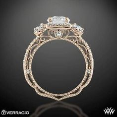 Weddbook is a content discovery engine mostly specialized on wedding concept. You can collect images, videos or articles you discovered  organize them, add your own ideas to your collections and share with other people - Weddbook ♥ Ring Side View of Verragio Triple Halo 3 Stone...oh my