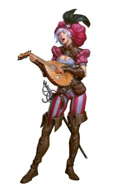 f Bard Troubadour Light Armor Rapier Lute female human urban City Pathfinder PFRPG DND D&D Fantasy Grounds lg Fantasy Character Design, Character Creation, Character Design Inspiration, Character Concept, Character Art, Dungeons And Dragons Characters, D D Characters, Fantasy Characters, Bard Dungeons And Dragons