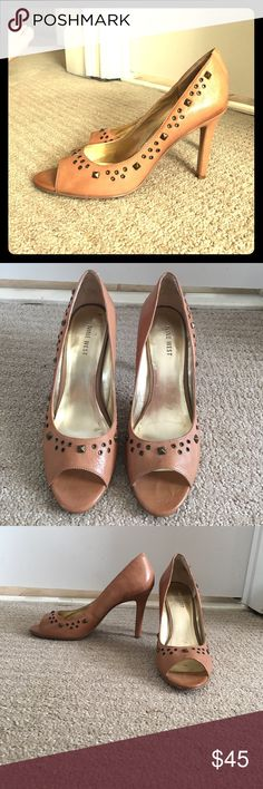 Selling this Nine West camel studded leather peep toe heels sz9 on Poshmark! My username is: lrabenko. #shopmycloset #poshmark #fashion #shopping #style #forsale #Nine West #Shoes